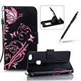 Strap Leather Case for Huawei P10 Lite,Portable Wallet Case for Huawei P10 Lite,Herzzer Bookstyle Retro Brilliant Butterfly Flower Pattern Stand Magnetic Smart Leather Case with Soft Inner for Huawei P10 Lite + 1 x Free Black Cellphone Kickstand + 1 x Free Black Stylus Pen - Black