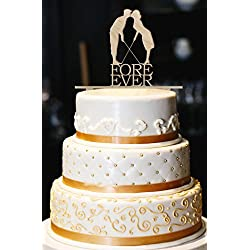 "Fore Ever Golf Wedding Cake Topper, Glitter Wedding Cake Topper, Golf Cake Topper, Gold Glitter Wedding Cake Topper, Wedding Decor (5"", Wood)"