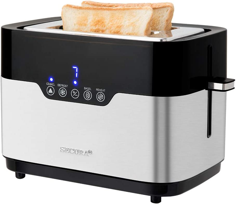 Secura Factory Second-Brand New Digital 2-Slice Brushed Stainless Steel Toaster, One Size