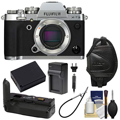 Fujifilm X-T3 4K Wi-Fi Digital Camera Body (Silver) with Fujifilm VG-XT3 Battery Grip + Battery & Charger + Kit