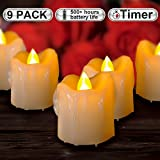 #6: Beichi Timer Flameless Candles Flickering, LED Votive Unscented Candles in Warm Yellow Light, Battery Operated Dripless Small Candles, 500+ Working Hours, D1.5 xH1.89, Set of 9