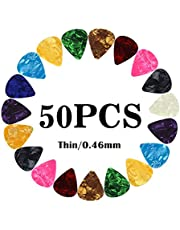 Guitar Picks Thin Light Soft Gauge Assorted Pearl Variety Sampler Pack Celluloid - 50 Pcs Colorful - Plectrums for Gift Acoustic Guitar, Bass and Electric Guitar - 0.46mm