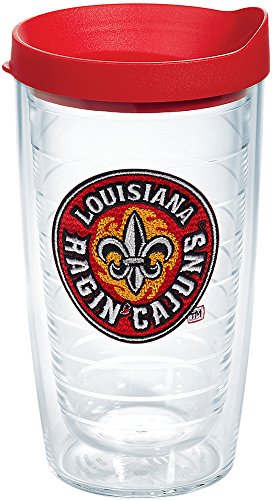Tervis 1190861 Louisiana Lafayette Ragin' Cajuns Logo Tumbler with Emblem and Red Lid 16oz, Clear ()