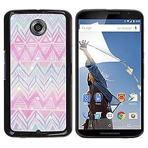 FlareStar Colour Printing Chevron Winter Christmas Pink Blue cáscara Funda Case Caso de plástico para Motorola NEXUS 6 / Moto X / Moto X Pro