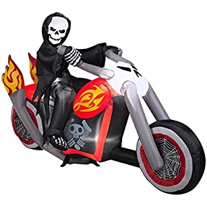 Halloween Inflatable 7' Grim Reaper on Chopper Motorcycle Yard prop Decoration By Gemmy