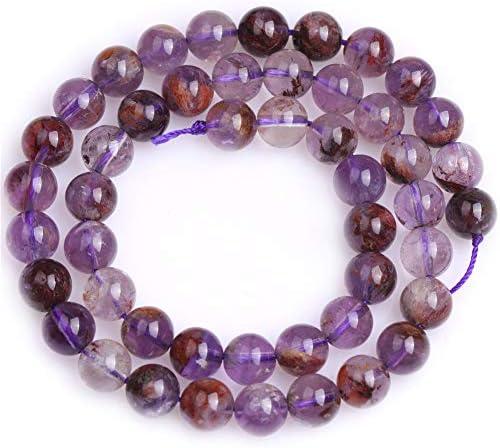 Gem-Inside Perles semi-pr/écieuses rondes en quartz rutile de qualit/é AA pour la fabrication de bijoux 38,1 cm