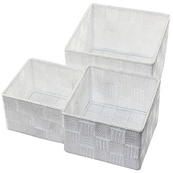 Aufbewahrungsbox 3er Set QUADRATISCH geflochten Korb Box Badezimmer Kiste  Regal, Farbe:Weiß