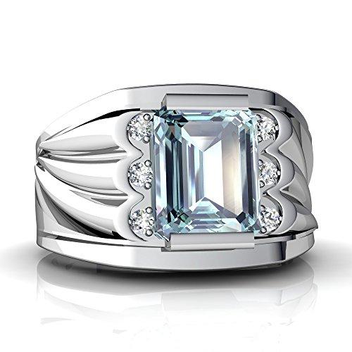14kt White Gold Aquamarine and Diamond 9x7mm Emerald_Cut Men