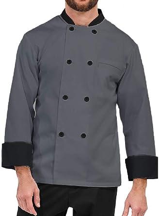 Aurum Creations Men's and Women's Grey Chef Coat Black Contrast (Medium(38))