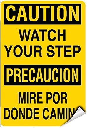 Precaucion Sign - Caution Watch Your Step Precaucion Mire Por Donde Camina Warning Stickers Lable Decal Safety Signs and Stickers Vinyl for House Van Property Car Window 7 Inches X 10 Inches