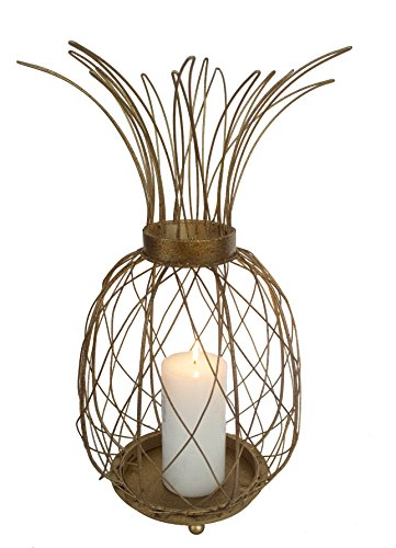GIFTME 5 Metal Gold Pineapple Tabletop Candle Holder for Christmas Home Decor (Gold,19 inch)
