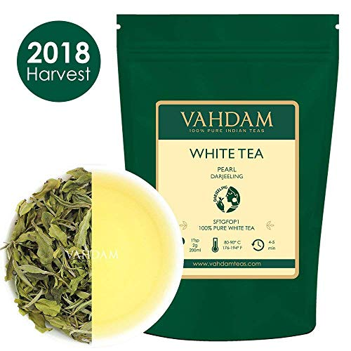 Imperial Pearl White Tea Leaves from Darjeeling - 100% Pure Unblended White Tea Loose Leaf - World's Healthiest Tea Type - RICH IN ANTIOXIDANTS - Detox Tea, Slimming Tea, 1.76oz (25 Cups) by VAHDAM