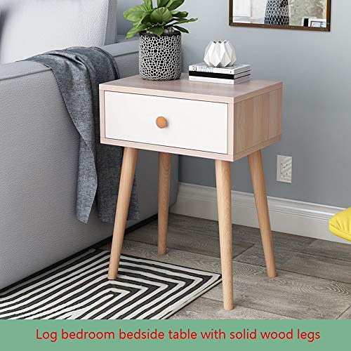 - Side End Table Nightstand Table, KCPer with Storage Drawer Simple Log Bedroom Storage Cabinet Solid Wood Legs Storage Single Drawer Cabinet