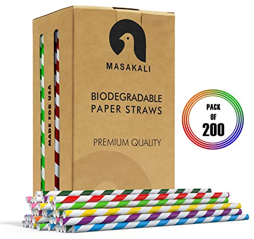 Biodegradable Paper Straws - 10 Unique Colors Rainbow Stripe Paper Drinking Straws - Paper Straws Bulk for Shakes, Juices, Smoothies ... (Blue)