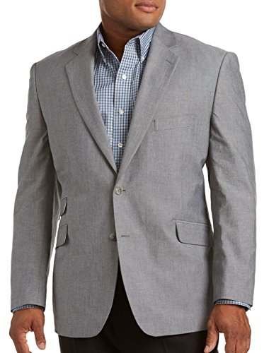 Oak Hill by DXL Big and Tall Continuous Comfort Chambray Sport Coat, Grey 3XL