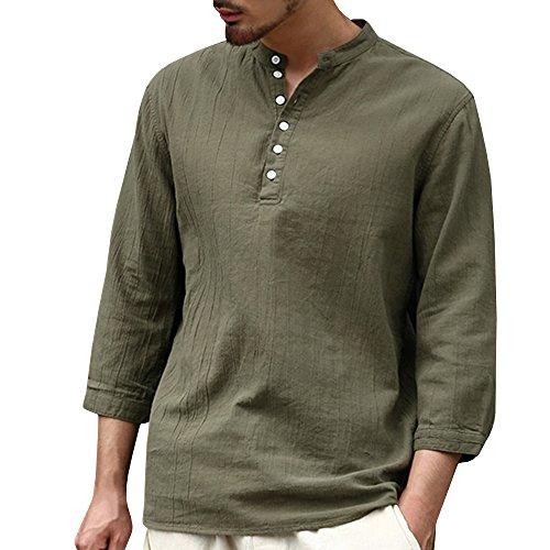 Button Up Cotton Henley - Karlywindow Mens Long Sleeve Henley Shirt Cotton Linen Beach Yoga Loose Fit Henleys Tops