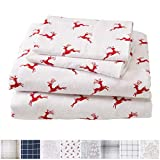 California King Bed Difference Great Bay Home Extra Soft Reindeer 100% Turkish Cotton Flannel Sheet Set. Warm, Cozy, Lightweight, Luxury Winter Bed Sheets. Belle Collection (California King, Reindeer)