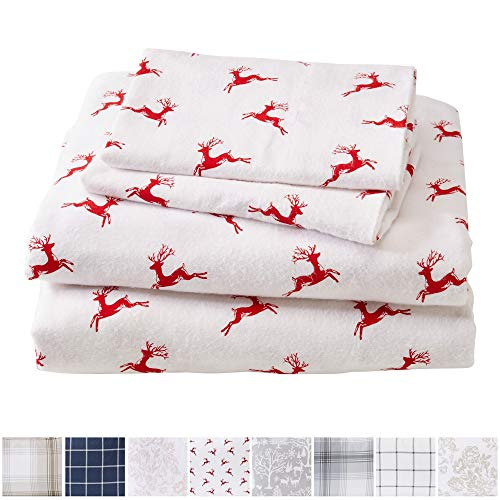 Great Bay Home Extra Soft Reindeer 100% Turkish Cotton Flannel Sheet Set. Warm, Cozy, Lightweight, Luxury Winter Bed Sheets. Belle Collection (Queen, Reindeer) - Holiday Flannel Sheets