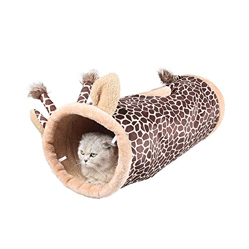 Cat Toy Canton Giraffe Shaped Toy Cat Tunnel Toys Plush Cat Scratch Toys for Pet Climbing for Interactive