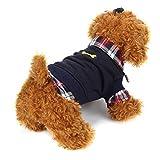 Voberry® Dog Cat Grid Sweater Puppy Warm T-Shirt Pet Clothes POLO Shirt Dog Coat (M - Black)