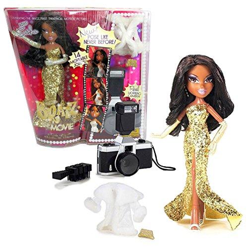 MGA Entertainment Bratz The Movie Series 10 Inch Doll Set - Movie Stars SASHA in Golden Dress with White Jacket, Gloves, Purse, Hairbrush and Camera ()