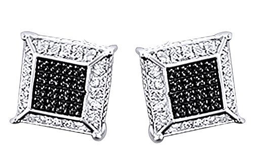 Round Cut Black & White Natural Diamond Hip Hop Stud Earrings 14K White Gold Over Sterling Silver (0.13 Cttw) by Wishrocks