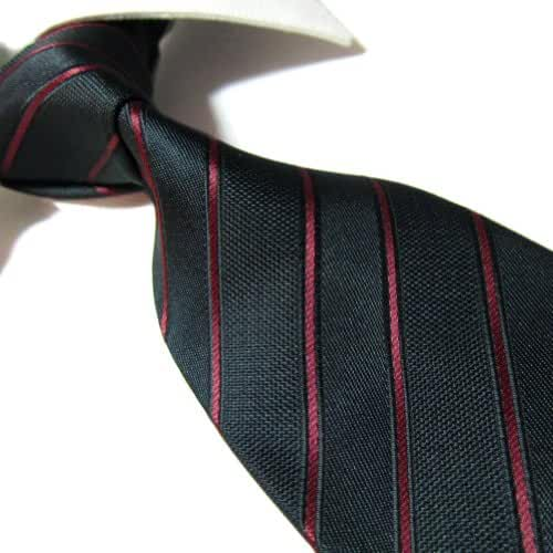 Extra Long Microfibre Tie by Towergem,Black/Red Stripe Polyester XL Men's Necktie 63