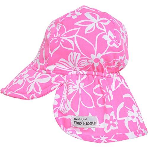 Flap Happy Girls' UPF 50+ Swim Flap Hat, Hula Hibiscus, Large