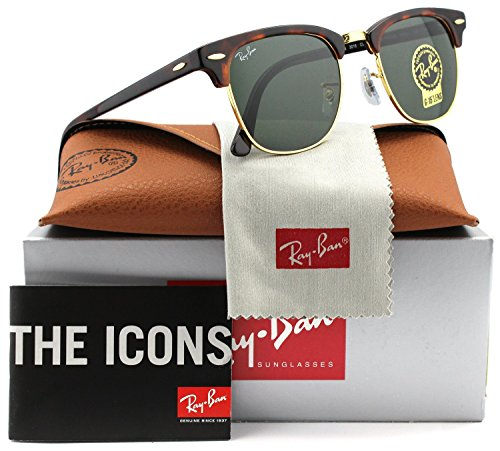 Ray-Ban RB3016 Clubmaster Sunglasses Arista Gold w/Crystal Green (W0366) 3016 W0366 49mm - W0366 Clubmaster Rb3016 Ray-ban