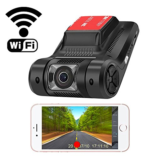 Camecho 1080P Dash Camera WiFi Car Video Recorder 2.45'' LCD Screen 170 Degree Viewing, Motion Detect, Parking Mode, Loop Recording, Support iOS Android System