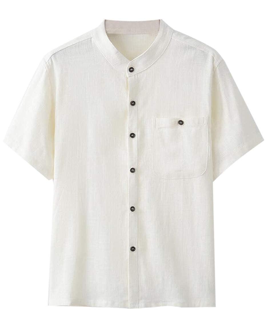 YONGM Men Fashion Regular Fit Shirt Linen Shirts Cotton Short Sleeve Button Down Shirts