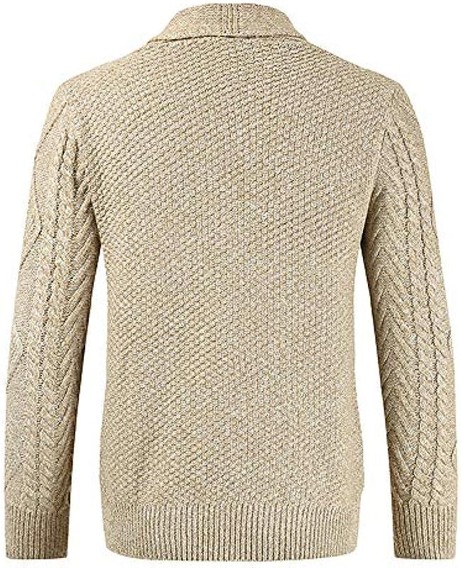 PPPPA Mens Button Up Cardigans kurtka z dzianiny z szyją z wzorem warkocza z kieszeniami, męski Shawl dekolt w serek, dziergany guzik, wełniany kardigan sweter z kieszeniami Mens V lekki kardigan: Odzież