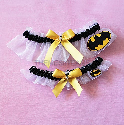Customizable handmade - White, Black, Yellow - Batman fabric handcrafted keepsake bridal garters wedding garter set tnt