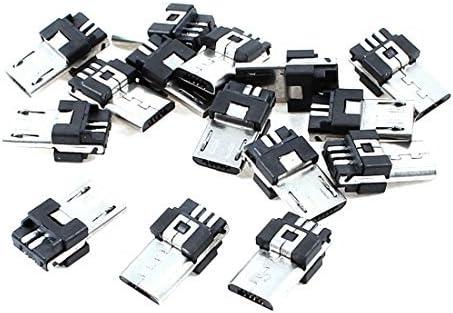 eDealMax Oficina Micro USB B 5 15pcs adaptador de montaje Pin Macho Tipo de conector Jack de soldadura