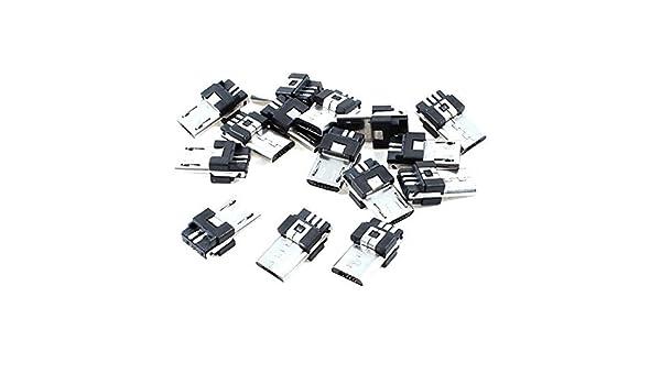 Amazon.com: eDealMax Oficina Micro USB B 5 15pcs adaptador de montaje Pin Macho Tipo de conector Jack de soldadura: Electronics