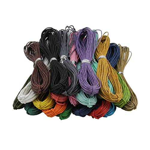 Inspirelle 20-Color 1.0mm Jewelry Making Beading Crafting Macramé Waxed Cotton Cord Thread, 10 Yards Each Color ()
