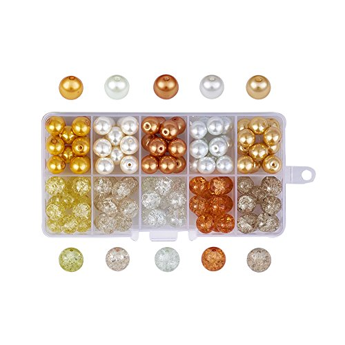 Pandahall Caramel Mix 10 Colors Transparent Baking Painted Crackle & Pearl Glass Bead Sets 10mm Round Loose Spacer Beads About 100pcs/box