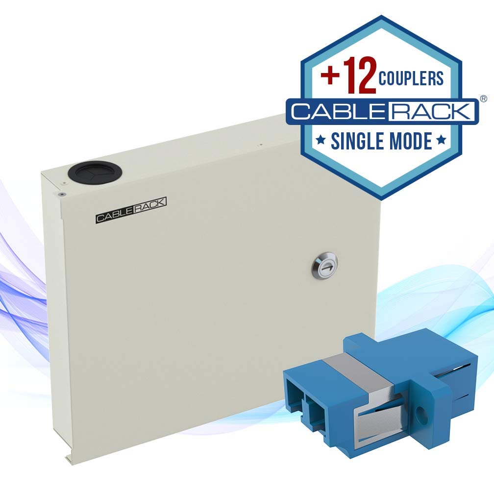 CableRack Fiber Optic Wall Mount Enclosure Box with 12 Duplex LC Singlemode Blue Couplers by CableRack