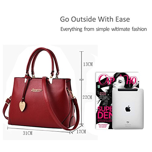 Crossbody Work Grey Ladies Tote NICOLE New Messenger amp;DORIS Shoulder Women Red Casual Fashion Purse Handbag Wine Outdoor Bag light AnqR8