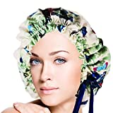 Adjustable Double Layers Butterfly Print Silk Sleep Cap Night Cap Head Cover Bonnet for Hair Beauty Fits head sizes: 20.5''-30'' (52-76cm)