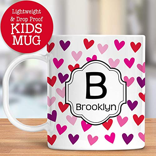 Kids Personalized Heart Cup Customize with Name and Initial Unbreakable Mug