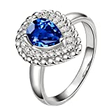 KOREA-JIAEN Lover's Tears Promise Ring Silver 5A Level Blue Cubic Zirconia Water-drop Ring Fashion Big Ring Wedding Ring (Size:8, Heart)