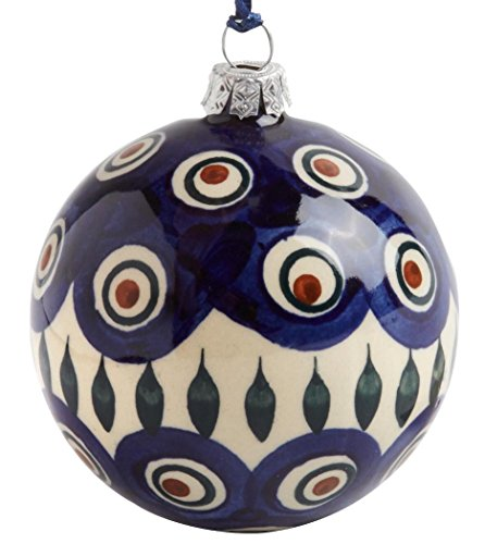 Christmas Ornaments Feather (Polish Pottery Peacock Feathers Handmade Blue Ivory Ceramic Christmas Ornament, 3-Inch Diameter)