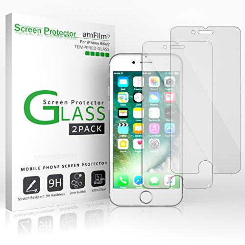 iPhone 7 6S 6 Screen Protector Glass, amFilm iPhone 7 Tempered Glass...