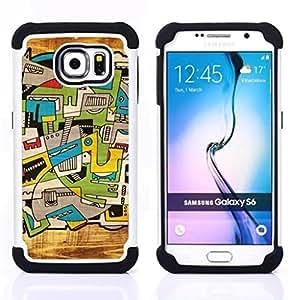 For Samsung Galaxy S6 G9200 - city art trippy deep artsy Dual Layer caso de Shell HUELGA Impacto pata de cabra con im??genes gr??ficas Steam - Funny Shop -