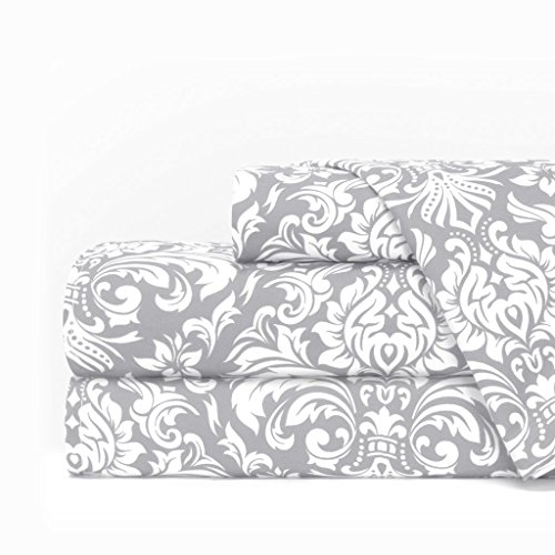 Egyptian Luxury 1600 Series Hotel Collection Damask Pattern Bed Sheet Set - Deep Pockets, Wrinkle and Fade Resistant, Hypoallergenic Sheet and Pillowcase Set - Cal King - Light Gray/White
