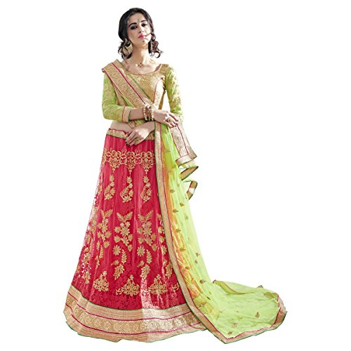 Aksaa-Fashion-Womens-Indian-Pink-Embroidered-Net-Festival-Lehenga-Choli