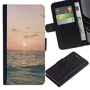 UberTech / Sony Xperia Z1 Compact D5503 / Sunset Ocean Sea Waves Surf Summer / Cuero PU Delgado caso Billetera cubierta Shell Armor Funda Case Cover Wallet Credit Card
