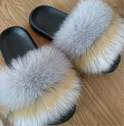 natural Slide Women's qmfur Fox Raccon Fur Flip Soft Flop white Flat Grey Slipper Raccon qvdwHvY