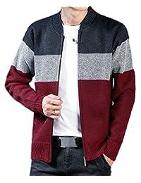 pujingge-CA Mens Color Block Full Zipper Long Sleeve Knit Sweater Cardigan